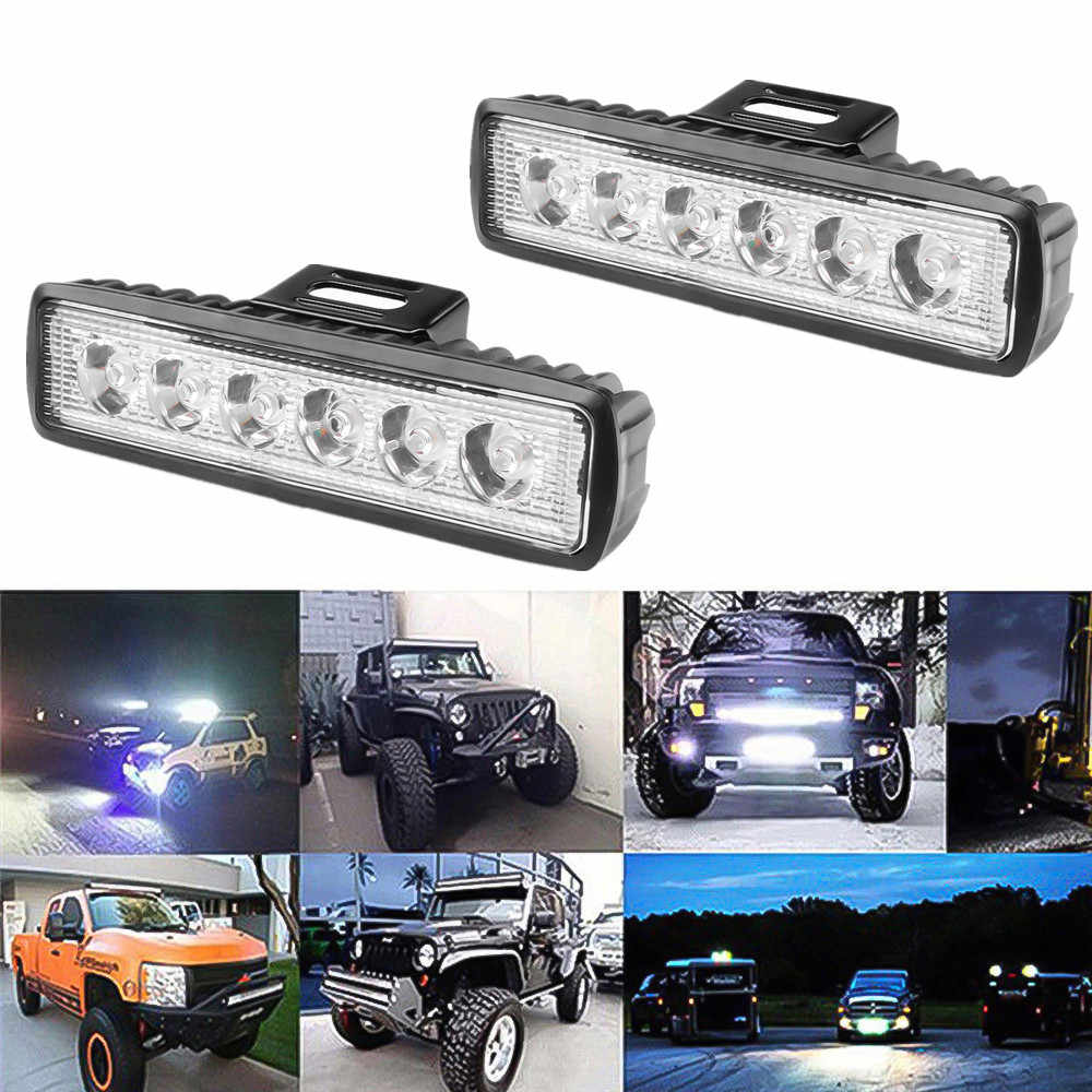 2pcs Waterproof IP65 18W 12V LED Light Bar work truck offroad spot work light tractor atv For Driving Working emergency Fog lamp