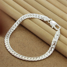 925-Sterling-Silver Bracelet Jewelry High-Quality 8inch Charm Flat-Snake-Chain Women