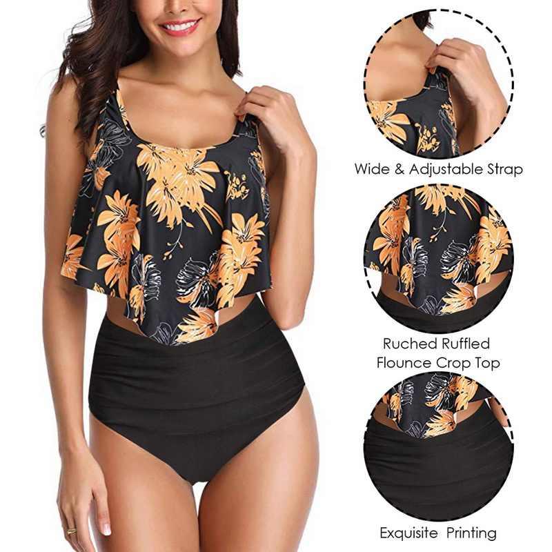Bikini Set Mujer Ruffle Floral Swimsuit 2019 Wanita Bikini Push Up Pinggang Tinggi Biquinis Brasil Baju Renang Musim Panas