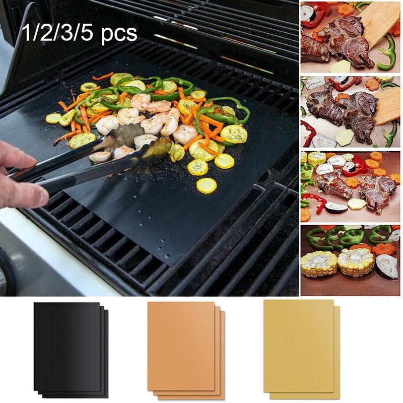 5Pcs Universal BBQ Grill Mat Teflon Reusable Sheet Resistant Barbecue Bake Meat