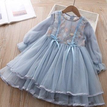 Princess girls long-sleeved white gauze dress spring new embroidery dress brim gauze dress kids