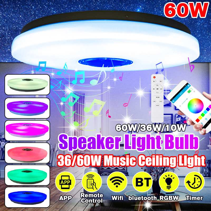36/60W RGB LED Ceiling Lights Modern APP Bluetooth Music Lamp Living Room Bedroom Kitchen Smart Ceiling Lamp+Remote Control