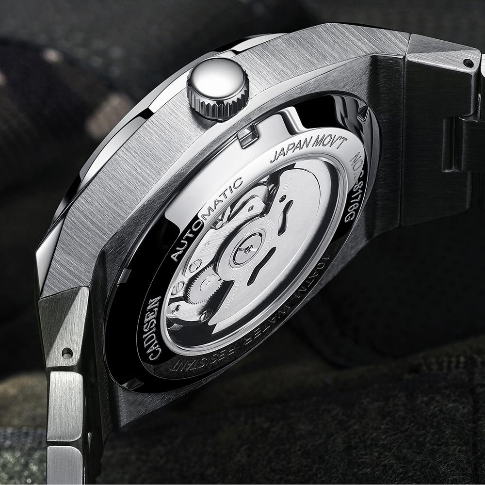 CADISEN Design Brand Luxury Men Watches Mechanical Automatic Blue Watch Men 100M Waterproof Casual Business luminous Wristwatch 2