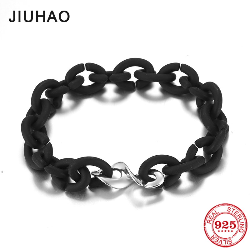 Hot 925 Sterling Silver Fashion 8 Charm Beads black Rubber X Handmade Bracelet women Accessories Jewellery Fashion gifts