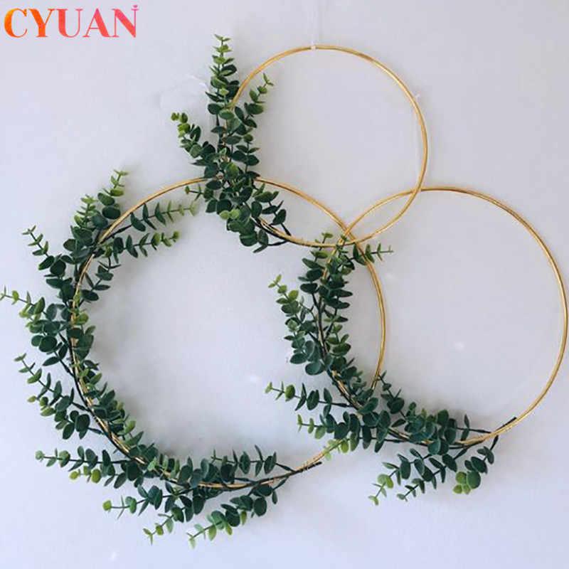 Giáng Sinh Kim Loại Sắt Vàng Vòng Hoa Trang Trí Lễ Cưới Hoa Vòng Treo Trang Trí Vòng Hoa Nhân Tạo Hoa Giáng Sinh Trang Trí Cho Gia Đình