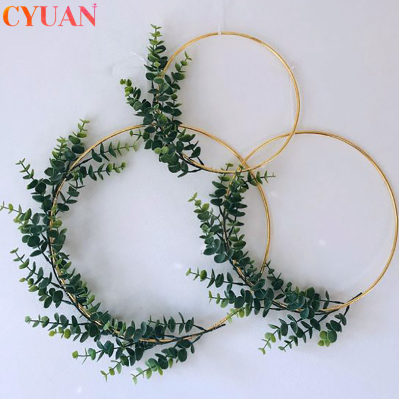 Ramadan Decoration Metal Iron Gold Wreath Wedding Decor Floral Hoop Hanging Ornament Garland Artificial Flowers EiD Home Decor