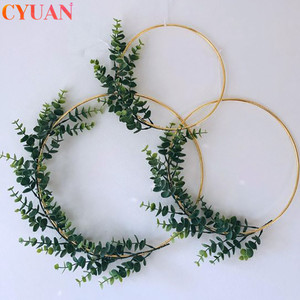 Ramadan Decoration Metal Iron Gold Wreath Wedding Decor Floral Hoop Hanging Ornament Garland Artificial Flowers EiD Home Decor(China)