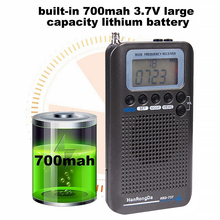 Portable Radio Aircraft Band Receiver FM/AM/SW/ CB/Air/VHF Radio World Band With Rechargeable  LCD Display Alarm Clock