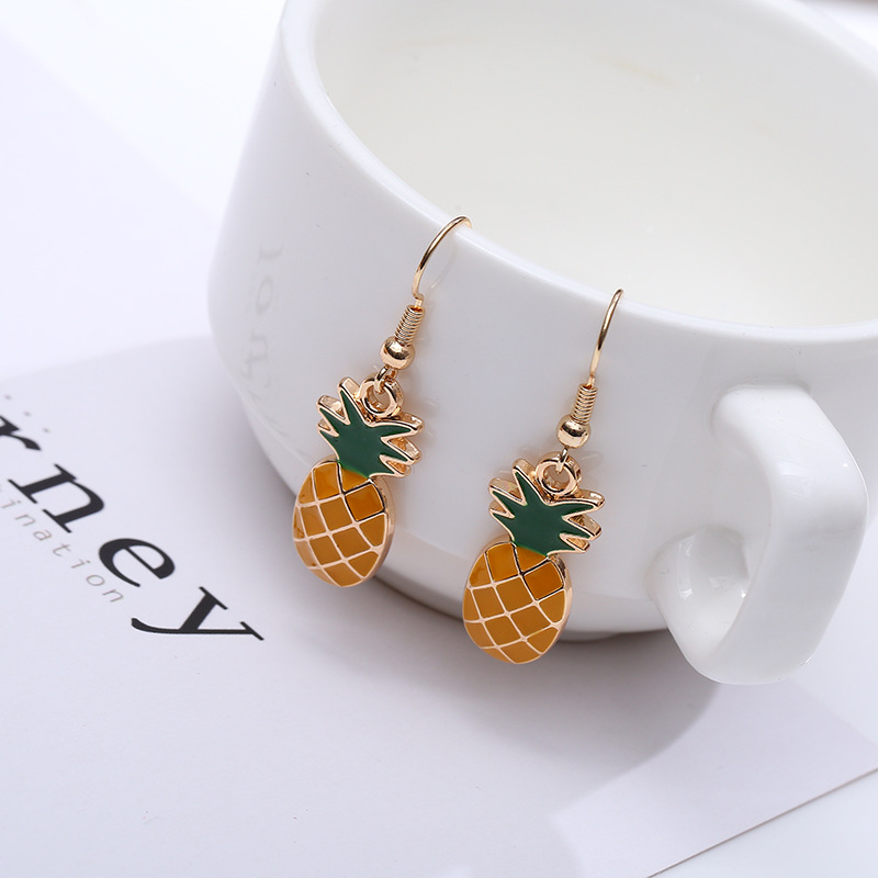 Korean Version of The Cute Fruit Pineapple Small Fresh Long Earrings Female Temperament