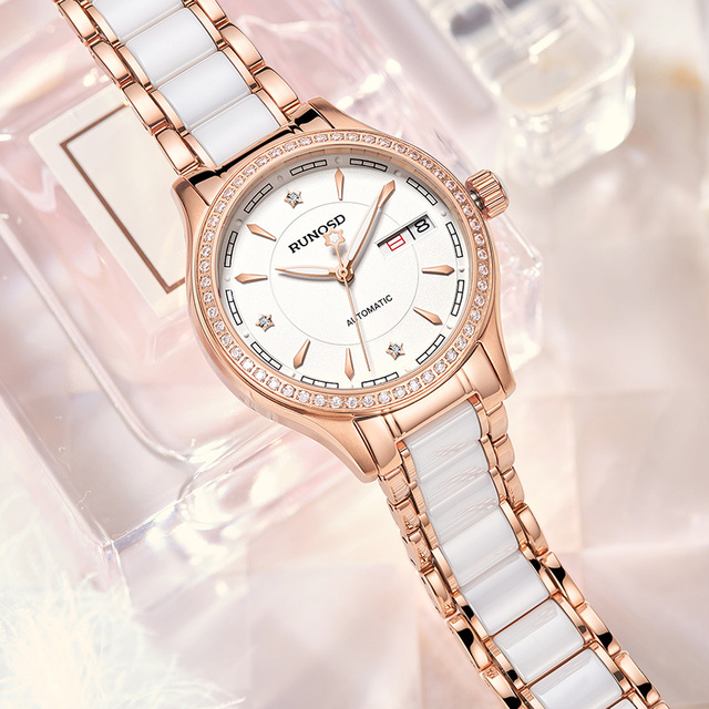 RUNOSDLadies Watch Luxury Rose Gold Zircon Day Calendar miyota Mechanical Movement Sapphire Crystal Stainless Steel 8157LS 3