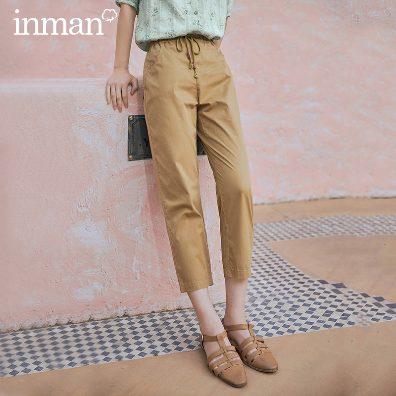 INMAN 2020 Summer New Arrival Pure Cotton Casual Bow All-match Three Quarter Harem Pants