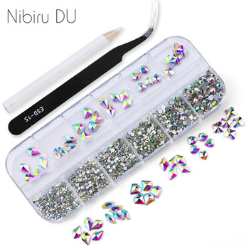 1 Box/set Multi Size AB crystal Rhinestones Mixed Colors Flat-back 3D Designs Glass for DIY Nail Art Decorations new style multi size glass nail rhinestones mixed colors flat back ab crystal strass 3d charm gems diy nail art decorations