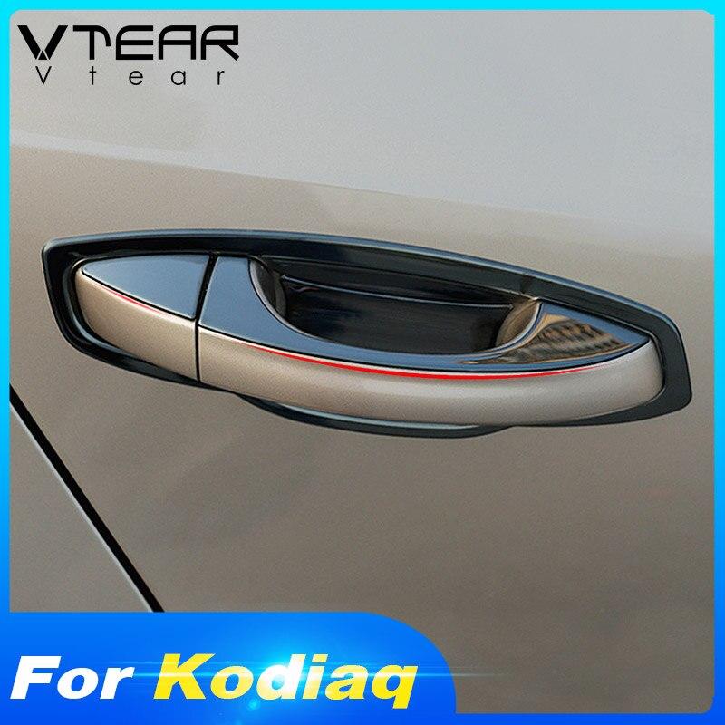 Vtear dla Skoda Kodiaq pokrywa klamki drzwi samochodu chrome drzwi zewnętrzne miska górne wykończenia chromowe części do zewnątrz ze stali nierdzewnej