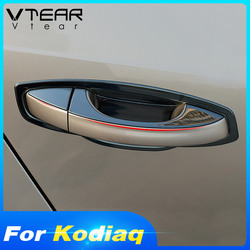 Vtear for Skoda Kodiaq car door handle cover chrome outer door bowl upper trim chromium styling stainless steel exterior parts