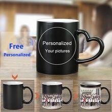 Taza mágica personalizada, tazas de cerámica sensibles al calor, cambio de Color, café, leche, regalo, imágenes impresas, H1228