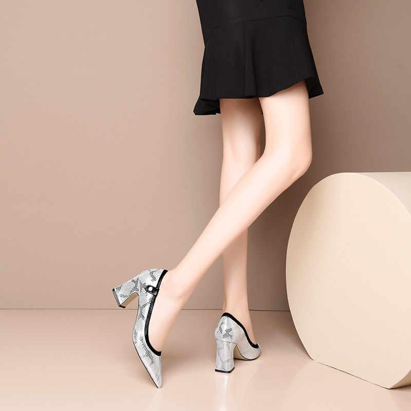 FEDONAS Pompe Delle Donne Del Modello Del Serpente Della Mucca Slip In Pelle Su scarpe Col Tacco Alto Primavera Estate Prom Scarpe Da Lavoro Scarpe Eleganti Donna