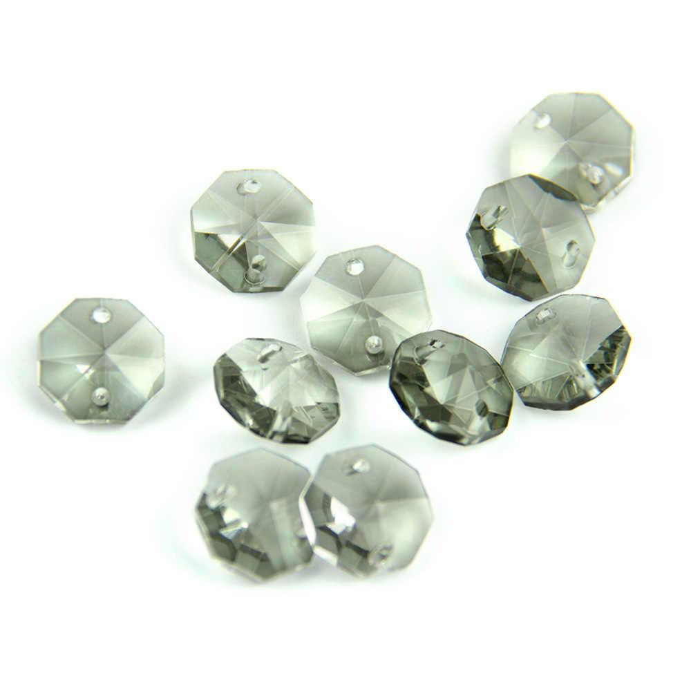 Czarny szary 14mm 1 otwór/2 otwory szkło kryształowe ośmiokątny koralik kryształowy pryzmat żyrandol wisiorek