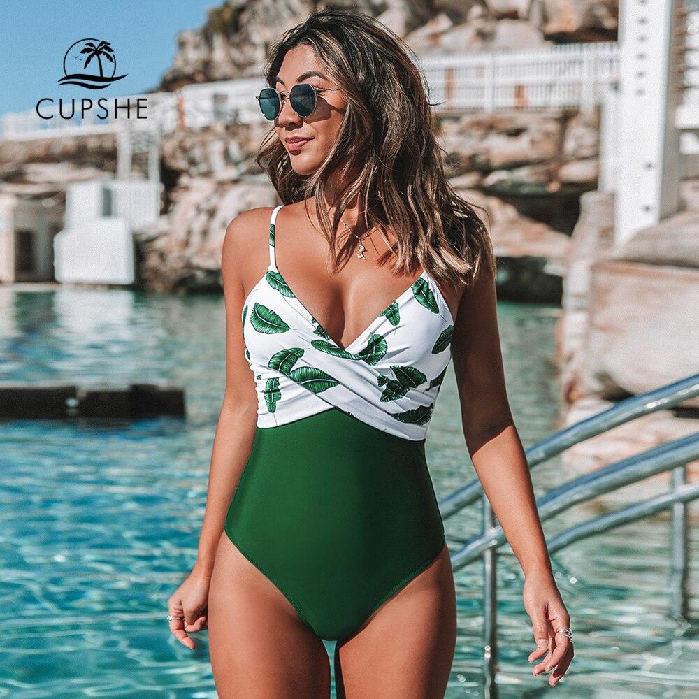 CUPSHE Banana Leaf Twist-Front One-Piece Swimsuit Women Sexy V-neck Padded Cups Monokini 2021 Girls Beach Bathing Suit Swimwear 1