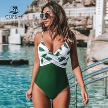 CUPSHE Banana Leaf Twist Front One Piece Swimsuit Women Sexy V neck Padded Cups Monokini 2020 Girls Beach Bathing Suit Swimwear