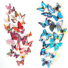 12 шт./лот Красочные магниты на холодильник в виде бабочек, 3D дизайнерские художественные наклейки в виде бабочек, комнатный Магнитный домаш...