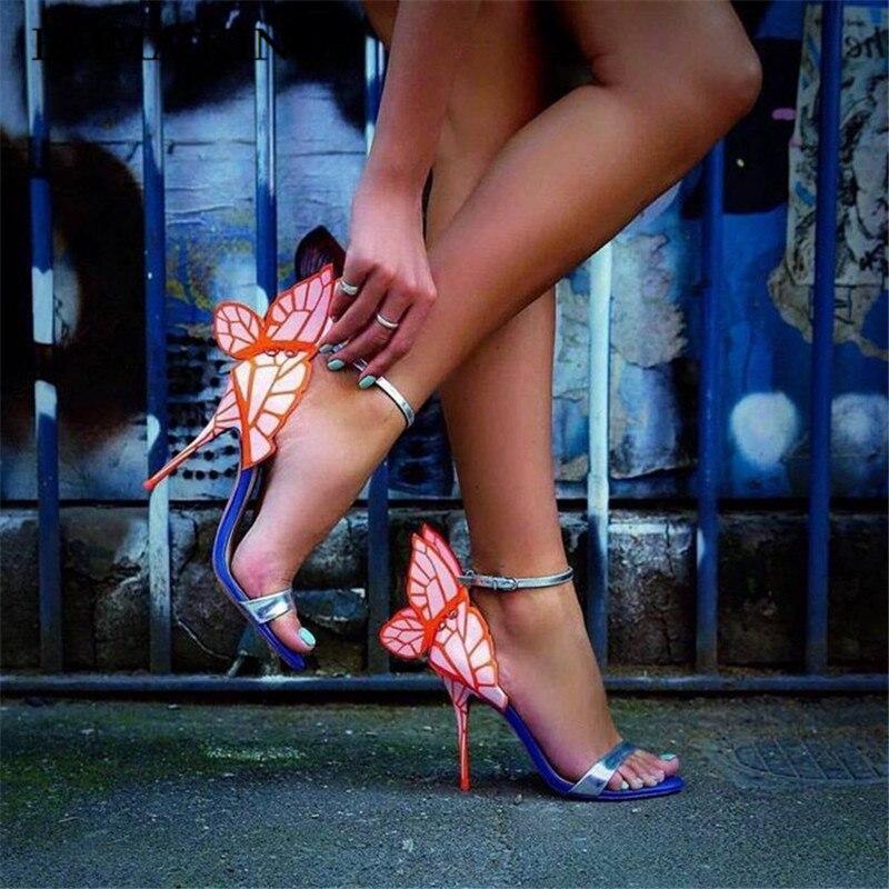 Beautyful nouvelle conception de papillon sandales à talons hauts ailes de papillon pompes talons hauts Stiletto femmes chaussures habillées grande taille 42