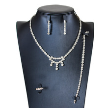 Nowe zestawy biżuterii ślubnej pełny naszyjnik z kryształem austriackim zestawy kolczyków dla kobiet zestawy biżuterii ślubnej i imprezowej JS38 tanie tanio SHCXGQN Ze stopu miedzi Kobiety Śliczne Romantyczny Cyrkonia Zaręczyny PLANT Naszyjnik kolczyki pierścień bransoletka