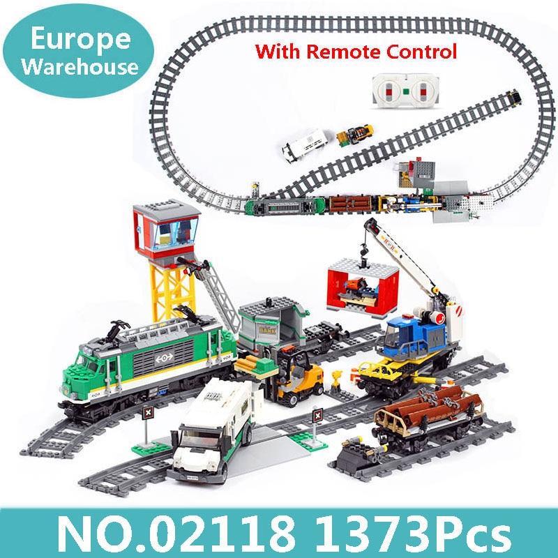 King Bricks Lepinblocks 02009 02118 Cargo Train Remote Control Building Blocks City Train 60098 60198 Children Technic Toys Gift