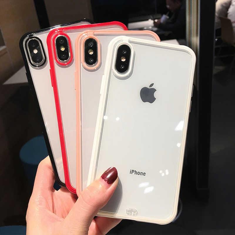 Silicone transparente Antichoc Téléphone étui pour iphone X XR XS Max 8 7 6 6S Plus Clair Élégant Housse De Protection Noir Cadre Rouge