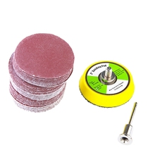 ABSF 50 Pcs 2 Inch Sanding Disc 60-180 Grit Hook and Loop for Sander Machine with 1 Pc 2 Inch Drill Shank Backing Pad