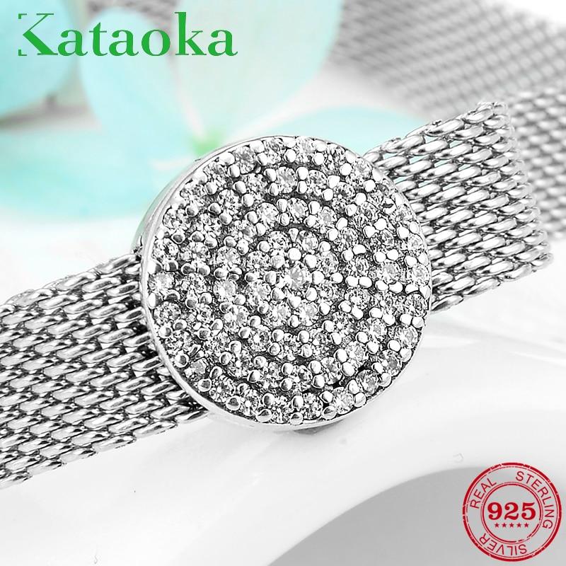 Nova chegada espumante 925 prata esterlina redonda claro cz clipes grânulos para fazer jóias ajuste reflexions charme pulseira