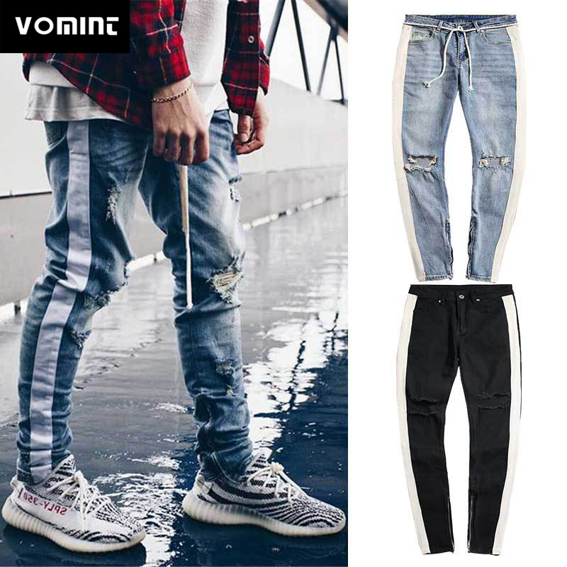 Men's Jeans Fashionable Explosion Style Men's New Hole Cutout Bar Zipper Pants Slim Men's Feet Jeans Long Pants Hot
