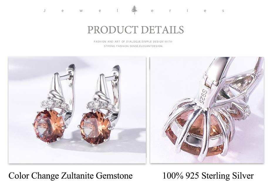 Kuololit Zultanite Gemstone Clip Earrings for Women Solid 925 Sterling Silver Color Change Diaspore Stone Earrings Fine Jewelry (10)
