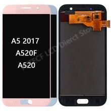 ЖК-дисплей для Samsung Galaxy A5 2017 A520, 5,2 дюйма, сенсорный экран с цифровым преобразователем в сборке, запасные части