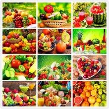 Shayi diy 5d алмазная картина фрукты овощи тарелка пейзаж мозаика