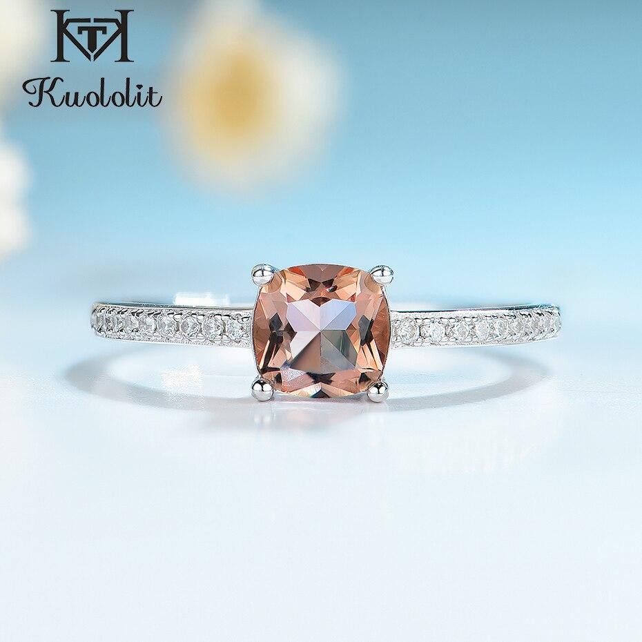 Kuololit Diaspore Zultanite pierścienie z kamieniami szlachetnymi dla kobiet dziewczyn stałe 925 Sterling srebrne wesele zaręczyny topaz emerald sapphire