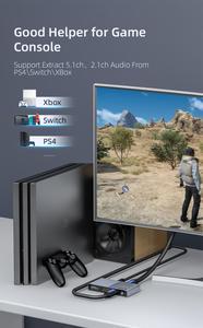 Image 4 - Unnlink hdmi 2.0 オーディオ extractor 2 で 1 アウト 2 × 1 スイッチ uhd 4 18k @ 60 hz HDCP2.2 分割 5.1ch spdif toslink 2.1ch 3.5 ミリメートルアークため PS4 テレビ