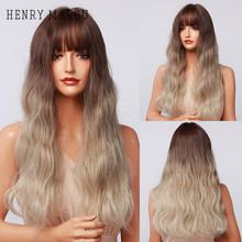 HENRY MARGU Long Wavy Ombre Brown Blonde White Wigs with Bangs Synthetic Natural Wig for Women Heat Resistant Cosplay Hair Wigs