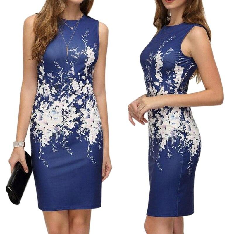 Vintage Dress Large Size S-5XL Women Sexy Slim Bodycon Floral Print Pencil Dress Elegant Ladies Office Dress Plus Size Vestidos
