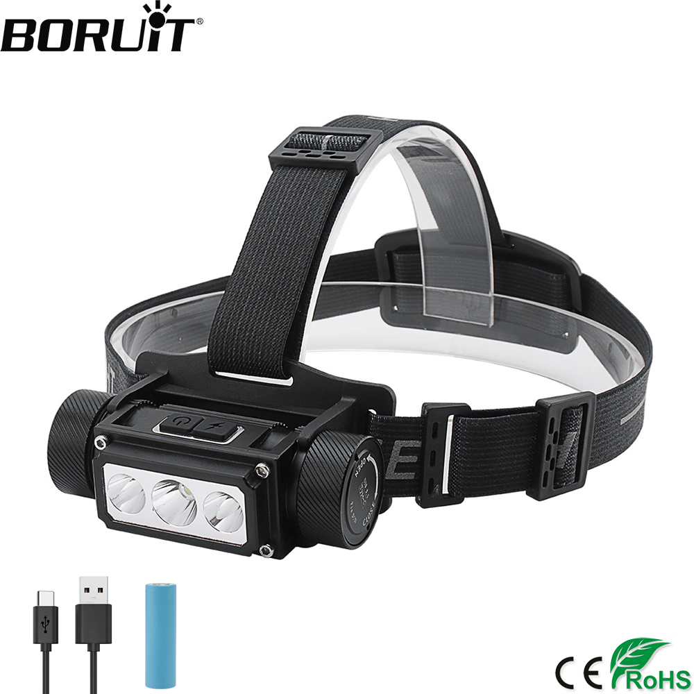 BORUiT B39 LED Headlamp XM-L2+2*XP-G2 Max.5000LM Headlight 21700/18650 TYPE-C Rechargeable Head Torch Camping Hunting Flashlight