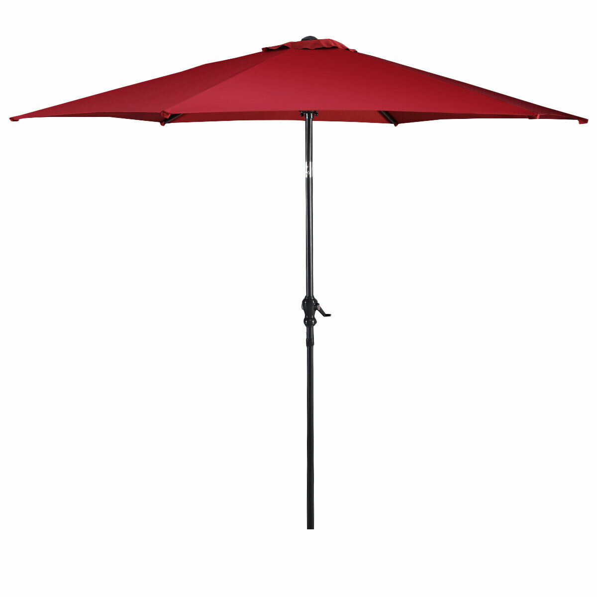 Costway 10FT Patio Umbrella 6 Ribs Market Steel Tilt W/ Crank Outdoor Garden Burgundy