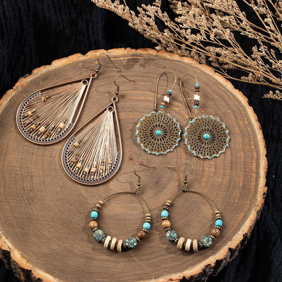 Orecchino a foglia grande fiore vintage con gioielli femminili etnici Boemia lunga a mano in bronzo Orecchini pendenti pendenti per donna