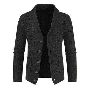 Новинка 2020, зимний теплый свитер, кардиган, мужской бренд, Повседневный, приталенный, мужской свитер с рожками, толстый, модный, на пуговицах,...