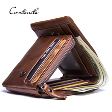CONTACTS Genuine Crazy Horse Leather Men Wallets Vintage Trifold Wallet Zip Coin Pocket Purse Cowhide Leather Wallet For Mens