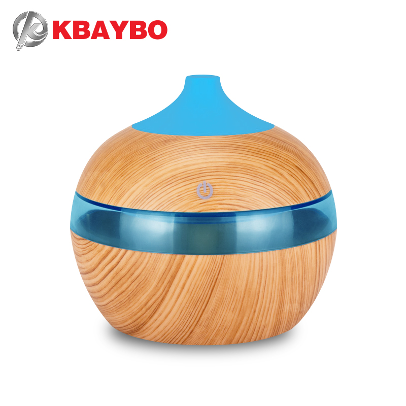 KBAYBO 300ML USB Aramo Oil Diffuser Electric Air Humidifier Ultrasonic Diffuser With 7 Colors Night Lights Cool Mist Maker Home