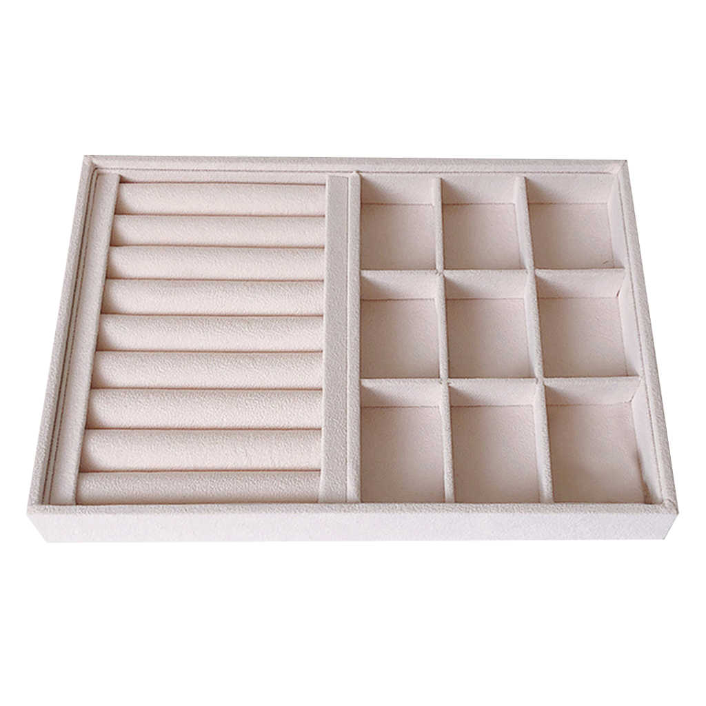 Portable Perhiasan Tray Display Organizer Tray untuk Cincin Anting Anting Manset Bagasi Memamerkan Perhiasan Stand