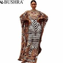 Zebra Printed Dashiki African Party Dress Women Plus Kanga Ladies Gown Muslim Abaya Kaftan Bat Sleeve V-neck Robes Maxi Dress