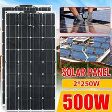 Panel Solar PET de 250W, 500W, 1000W, 18V, 10A, Kit de sistema de generador, soporte de cargador de batería completo, Cable de Camping