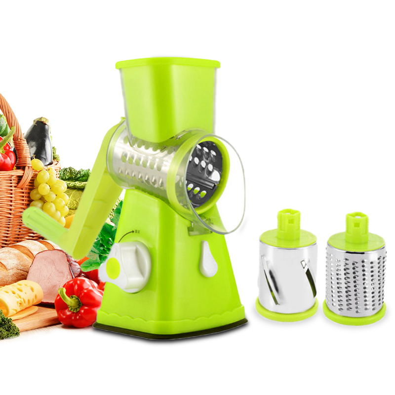 Rotary Hand Roller Grater Slicer Green Multi-functional Cutting Dish Device Slice Planing Wire Artifact Potato Cutter Shredder