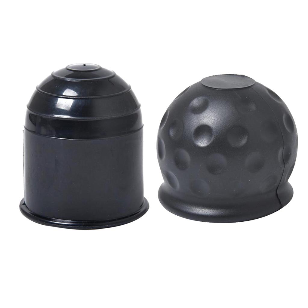 2 Pcs 50mm Protective Cap Towbar Car Ball Head Cap Cover - Black