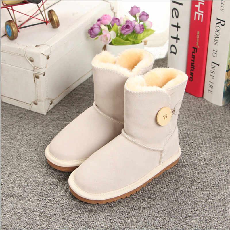 Merk Jongens Meisjes Australië Stijl Kinderen Snowboots Waterdichte Knop Kinderen Winter Koe Lederen Laarzen Vrouwen Warme Schoenen EU21-34